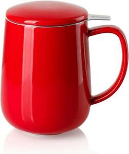Tea Mug with Infuser and Lid Red