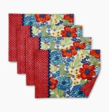 Pioneer Woman Set of 4 Dazzling Dahlias Placemats Reversible, Cotton blend, New