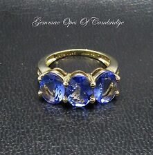 9ct Gold Oval cut 4.5ct Tanzanite and Diamond Trilogy Ring Size J 1/2 3.57g
