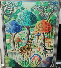 MACENAT MICHELET ZOO ANIMALS ORIGINAL OIL ON MASONITE PAINTING