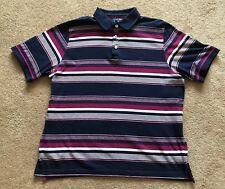 Facile est 1973 Classic Polo T. shirt Top à rayures bleu marine taille L très bon état!