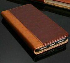 For LG Q6 V30 Luxury Real Leather Wallet Cover Flip Wallet Case Black Brown