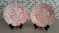 CHURCHILL Pair of Pink Roses Chintz Salad Side Plates Floral Dishes ENGLAND