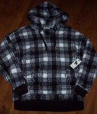 NWT PJ Salvage Ivory/Black Plaid LUXURY Plush Hoodie FURRY FLEECE Pullover Top M