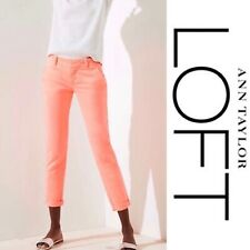 Ann Taylor Loft NEW Cuffed Girlfriend Chinos Pants Neon Pink Sz 0 Petite 0P