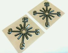 "Clock parts:2-Partial Starburst dials 4"" self adhesive,hot-stamped,gold,USA made"