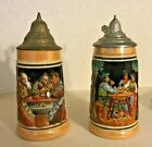 2 - German Beer Stein w/Lid: Pub Scene and Family at Table West Germany