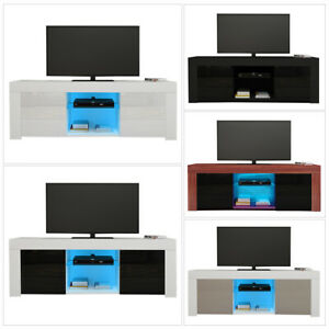 Modern TV Unit Stand Cabinet High Gloss Front & Matt Body with RGB LED Lights