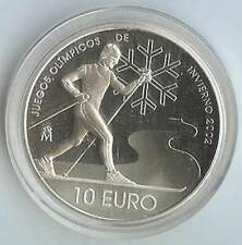 Spanje 10 euro 2002 Proof zilver PP: Olympische Spelen / Skiër
