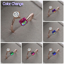 Rose Gold Plated Adjustable Jewelry Cube Zircon Crystal Color Change Ring