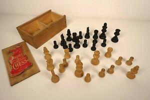 Vintage Staunton Boxwood Chess Pieces + Box  House Martin - COMPLETE