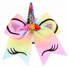 Girl Party rainbow Bow Sequins colorful Unicorn pony Hair Elastic band Ribbon
