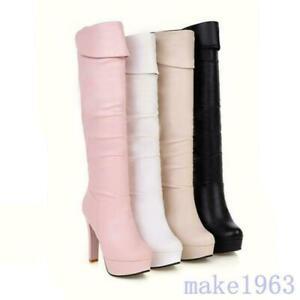 Women Knee High Boots Shoes Round Toe Platform High Block Heels Sexy Wintetr New