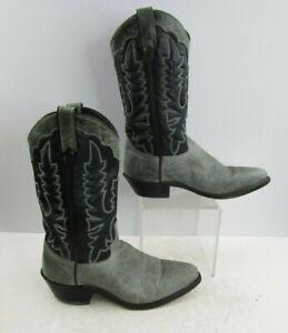 Men's  Grey-Blue Round Toe Western Cowboy Boots Size : 8 D