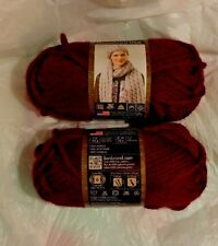 2 skeins Lion Brand Hometown USA Yarn in NAPA VALLEY PINOT