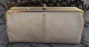 Hobo International ~LAUREN Leather DOUBLE FRAME Clutch Wallet ~PEBBLE~ NWT $148