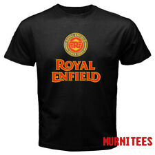 Royal Enfield Motorcycle Retro Racing Logo Men's Black T-Shirt S to 3XL