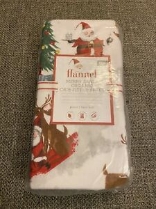 Pottery Barn Kids Flannel Organic Merry Santa Crib Fitted Sheet