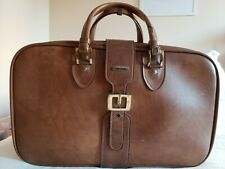Brown Vintage Invicta Leather carry on Luggage  With Expandable belt latch