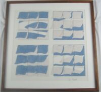 Vintage Original 1977  Watercolor Untitled (Blue) by Vin Grabill Listed