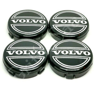 4x Volvo Alloy Wheel Centre Hub Caps 64mm Black C30 C70 S40 V40 V50 S60 V70
