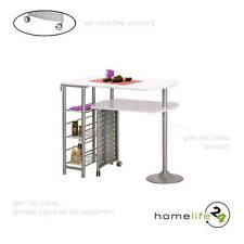 Table bar cuisine en MDF blanc laqué et métal laqué argent avec plan de travail
