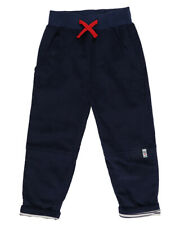 Lilly and Sid Boys Navy Blue Trousers Turn Up Cords With Contrast Jersey Lining
