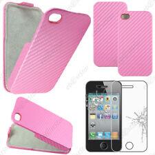 Etui Coque Housse a Rabat Revêtement Carbone Rose Apple iPhone 4S 4 + Verre