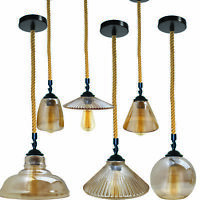 Industrial Retro Pendant Light Suspended Ceiling Lights Style Glass Lamp Shades