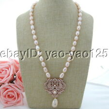 "H101004 25"" Pink Rice Pearl Necklace Keshi Pearl CZ Pendant"