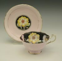 PARAGON BONE CHINA BLACK AND PINK POPPIES  CUP AND SAUCER SET 1939-1949 AS IS