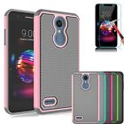 For LG Xpression Plus/K30 Silicone Case With Tempered Glass Screen Protector