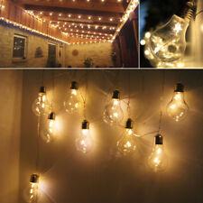 2M 10 Edison Bulbs 20LED Festoon Fairy String Lights Hanging Gazebo Party Garden