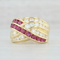2.80ctw Ruby Diamond Knot Ring 18k Yellow Gold Damiani Cocktail Woven