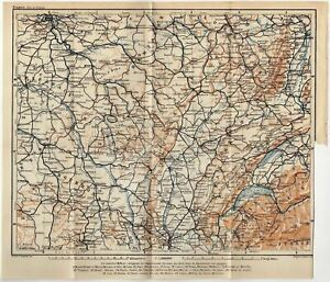 CHAMPAGNE FRANCE COUTRYSIDE NIVERNAIS ANTIQUE FOLD-OUT MAP WAGNER LEIPZIG 1909