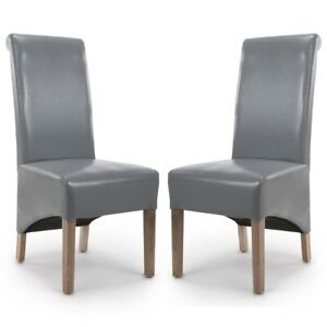 KRISTA ROLL BACK BONDED GREY LEATHER DINING  CHAIRS x 2 (a pair)