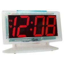 Red Led Alarm Table Clock Digital Electric Powered Clear Case Jumbo Display New