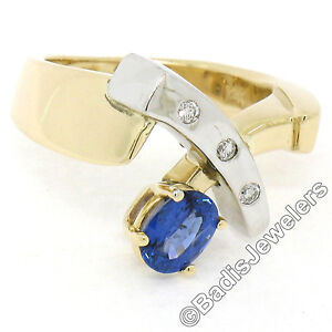 Two Tone 14K Gold 0.98ctw QUALITY Sapphire Solitaire Ring w/ 3 Diamond Accents