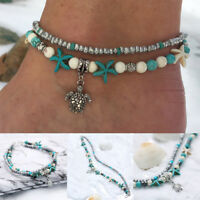 Bracelet De Cheville Chaîne Pied Argent Or Turquoise Bague D'orteil Bijoux plage