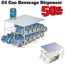 Organized Living 24 Can Beverage Dispenser Soda Coke Storage Rack Steel White