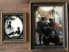 "2 Reliance Silhouettes ""In The Garden"" T3 3 1/2x4 3/4 Paired with Man and Woman"