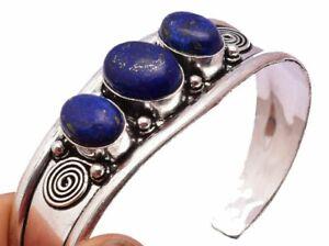 "Lapis Lazuli 3 stones STERLING SILVER BRACELET CUFF Bangle 27GRAMS 7.5-8.5 """