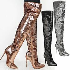 Womens Ladies Party Sparkle Sequin Metallic Over the Knee Boots High Heels Size