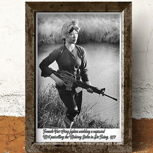 Female Viet Cong Fighter Wielding A Captured M16 Historical Photo A4 Poster