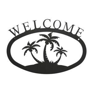 Palm Trees Iron Metal Welcome Sign Plaque Home Tropical Door Outdoor Beach Decor