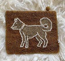 YKK Gold Bronze Beaded Coin Zip Purse Husky Dog