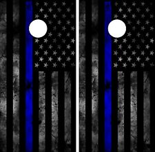 C202 POLICE FLAG Cornhole Board Wrap LAMINATED Wraps Decals Vinyl Sticker