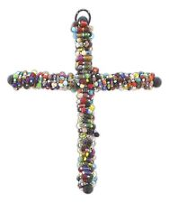 Multicolored Beaded Wall Cross  wire-wrapped Metal Cross