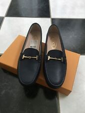NIB 100% AUTH Tod's Dark Blue Leather Flats Double T Buckle Sz 38.5