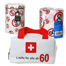 Geschenkset Erste Hilfe Tasche + Toilettenpapier + Spardose 60. Geburtstag 60
